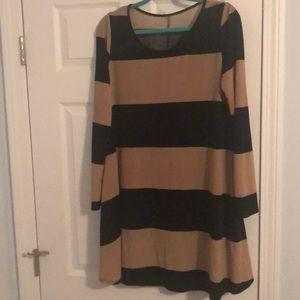 Black and Tan Long sleeve dress